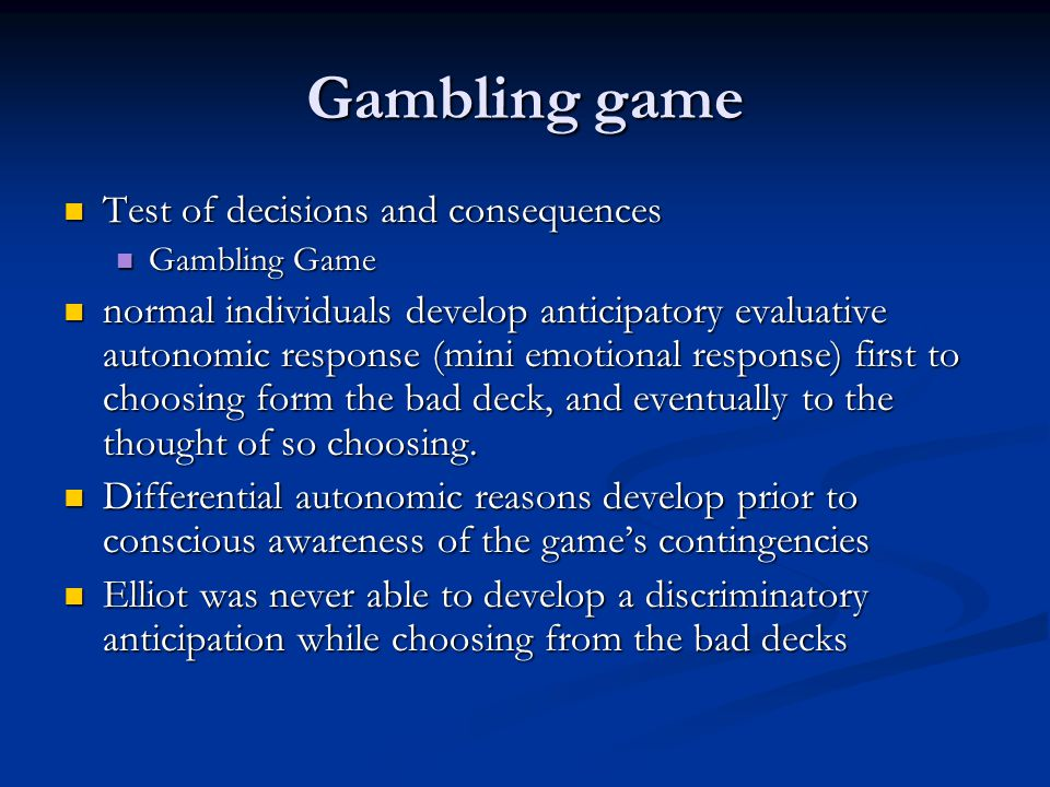 Gambling game Test of decisions and consequences