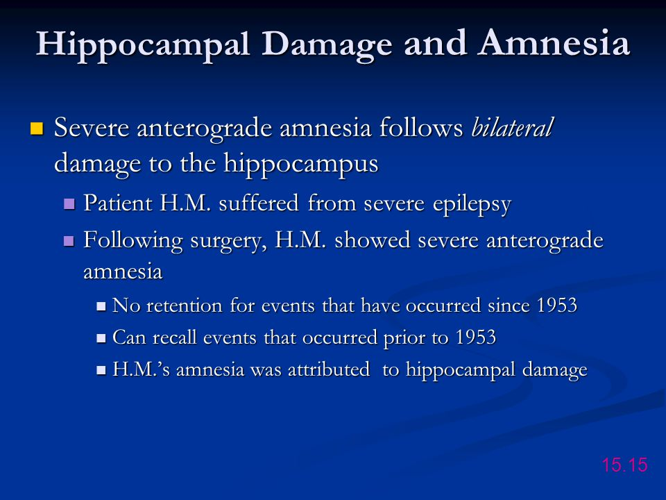 Hippocampal Damage and Amnesia