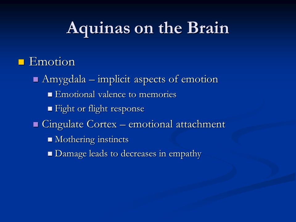Aquinas on the Brain Emotion Amygdala – implicit aspects of emotion