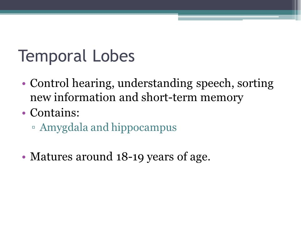 Temporal Lobes Control hearing, understanding speech, sorting new information and short-term memory.