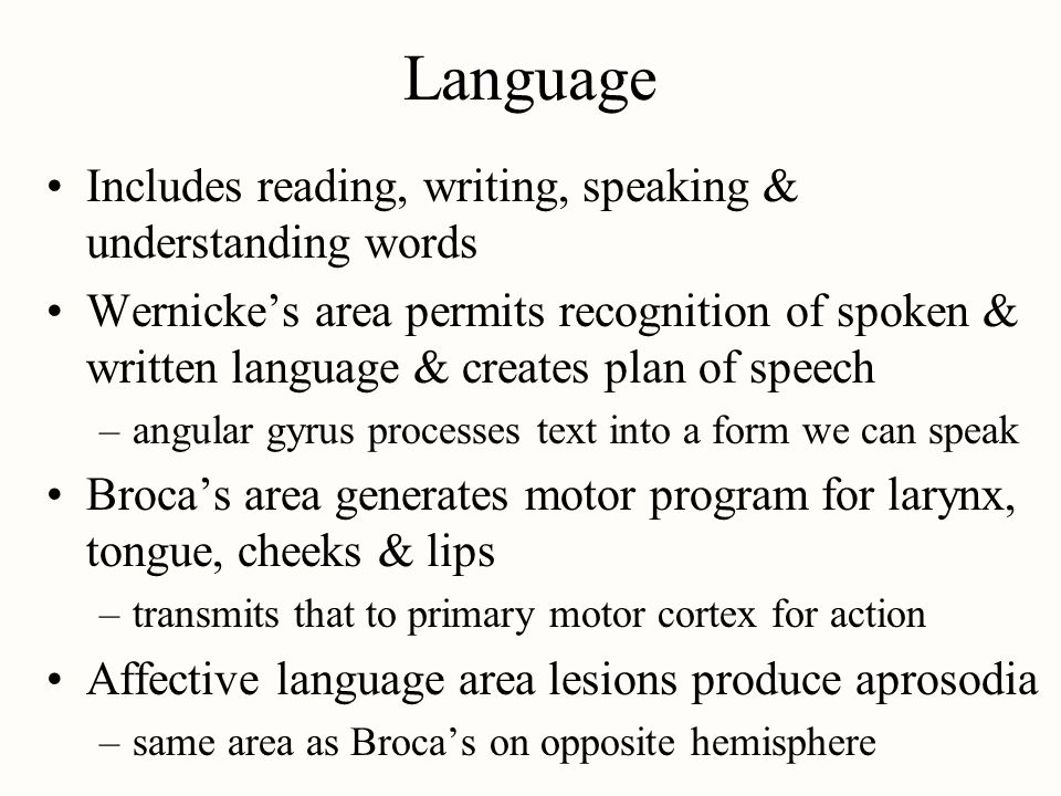 Language Includes reading, writing, speaking & understanding words
