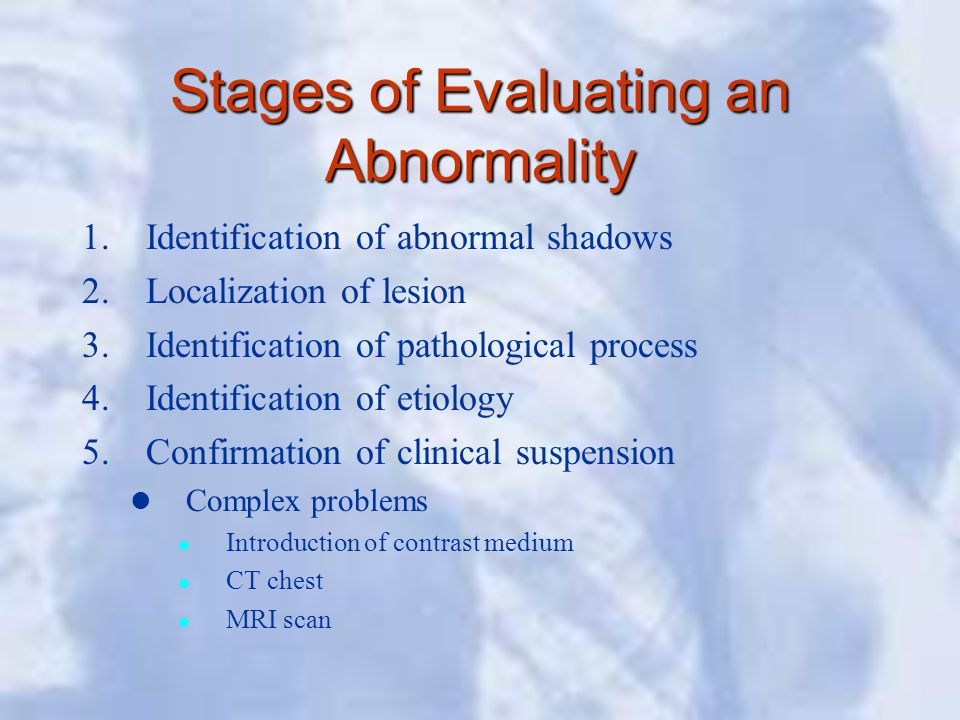 Stages of Evaluating an Abnormality