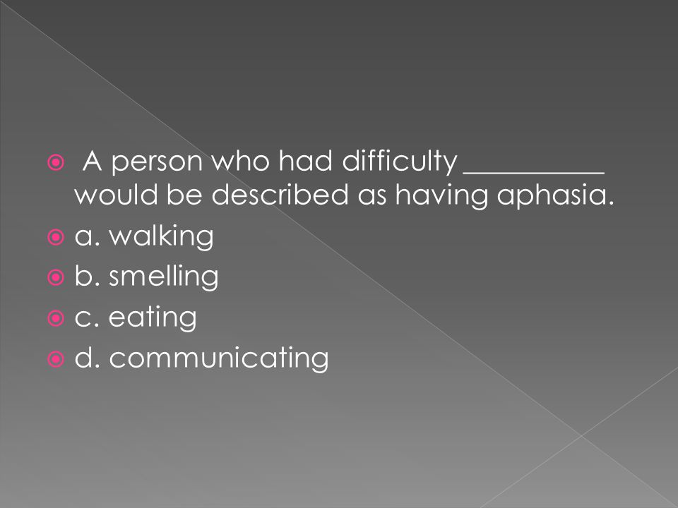 A person who had difficulty __________ would be described as having aphasia.