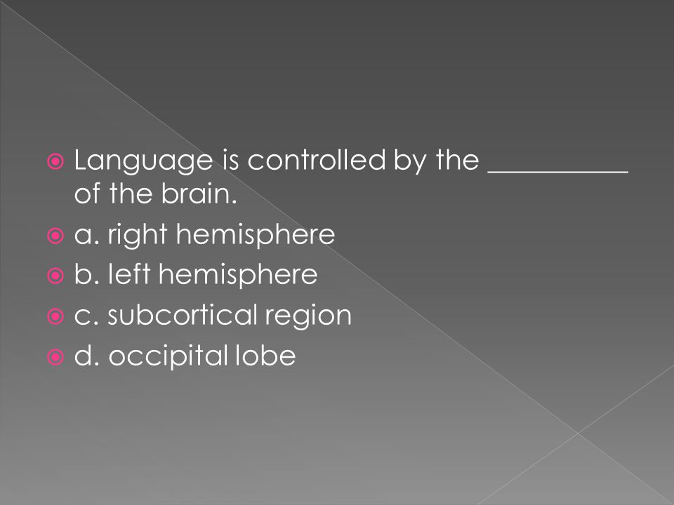 Language is controlled by the __________ of the brain.