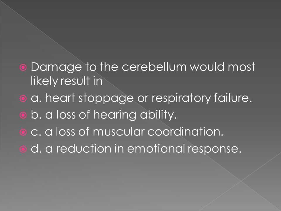 Damage to the cerebellum would most likely result in