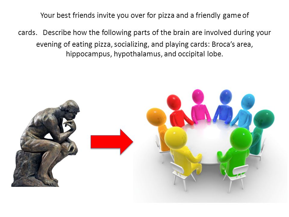Your best friends invite you over for pizza and a friendly game of cards.