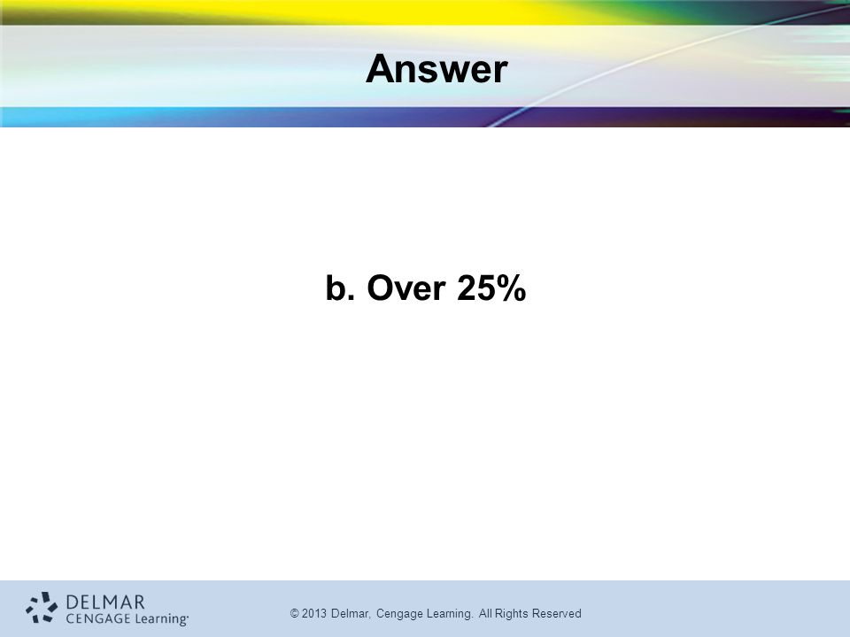 Answer b. Over 25%