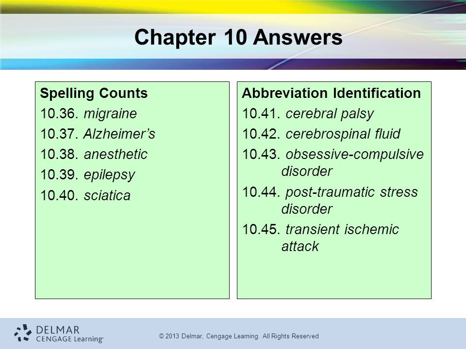 Chapter 10 Answers Spelling Counts 10.36. migraine 10.37. Alzheimer's
