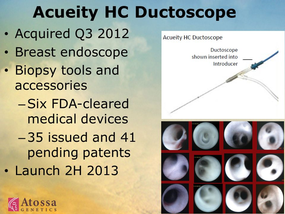 Acueity HC Ductoscope Acquired Q3 2012 Breast endoscope