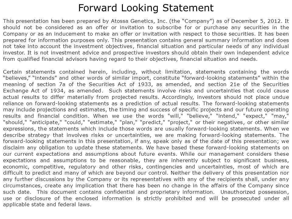 Forward Looking Statement