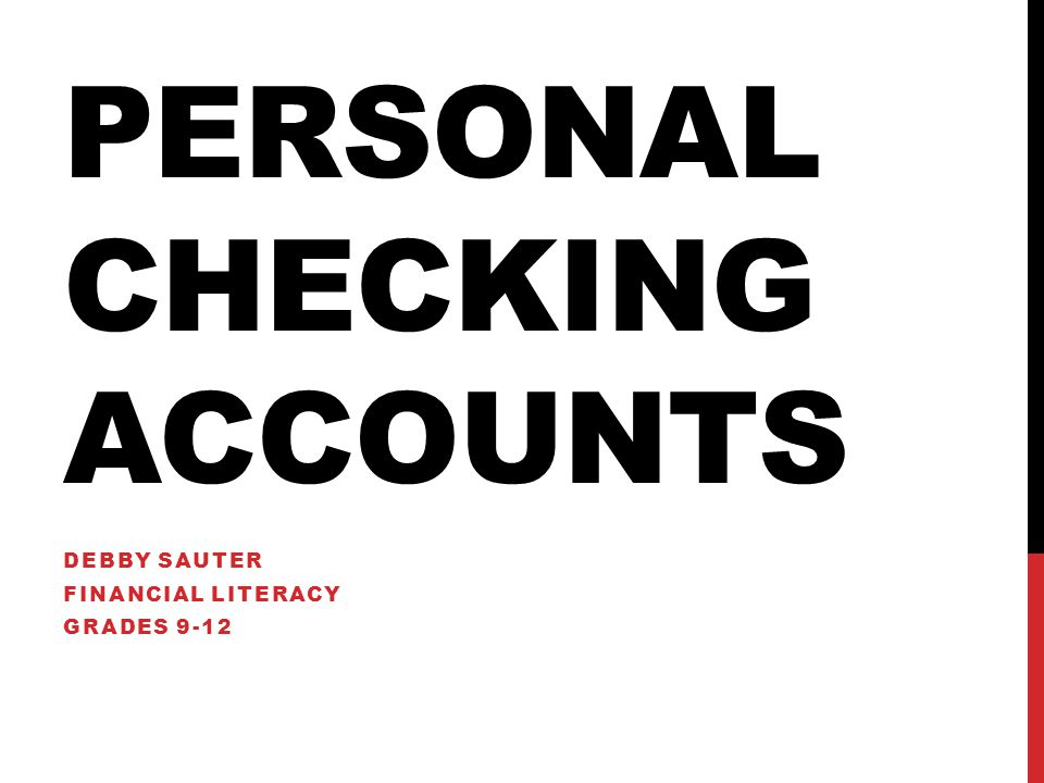 Personal Checking Accounts