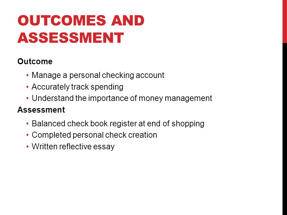 personal checking accounts ppt video online  3 outcomes and assessment