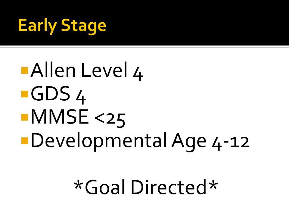 Allen Level 4 GDS 4 MMSE <25 Developmental Age 4-12 *Goal Directed*