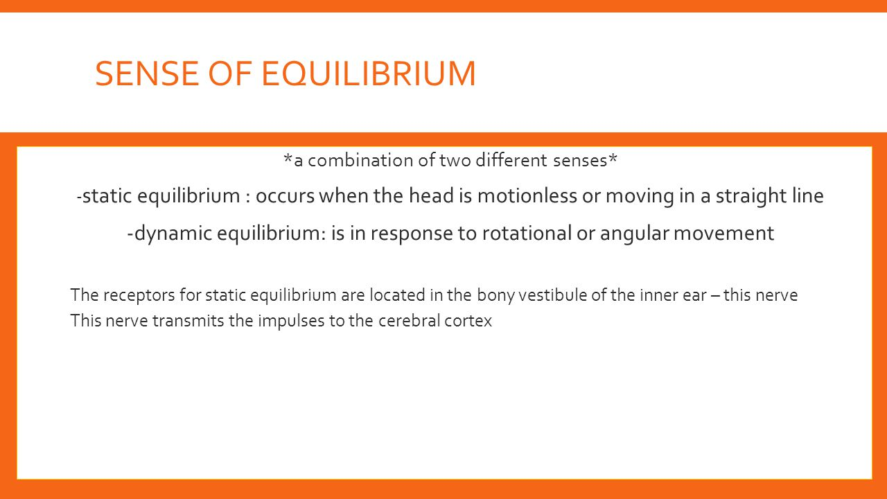 Sense of equilibrium *a combination of two different senses* -static equilibrium : occurs when the head is motionless or moving in a straight line.