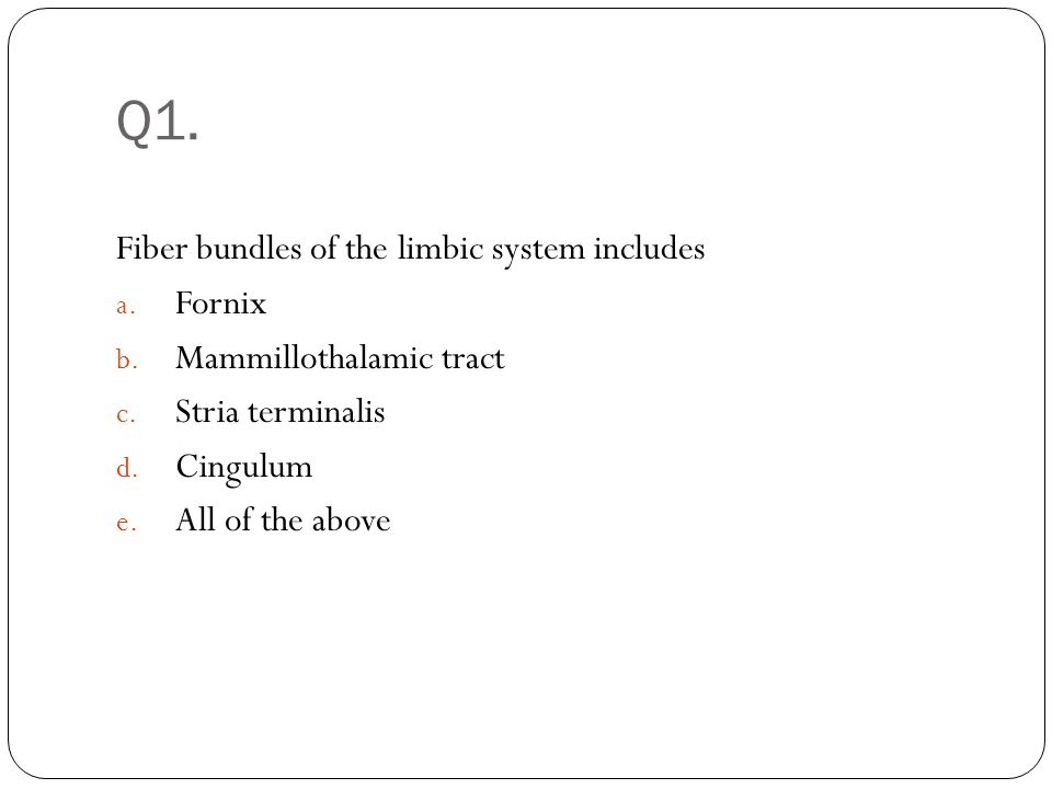 Q1. Fiber bundles of the limbic system includes Fornix