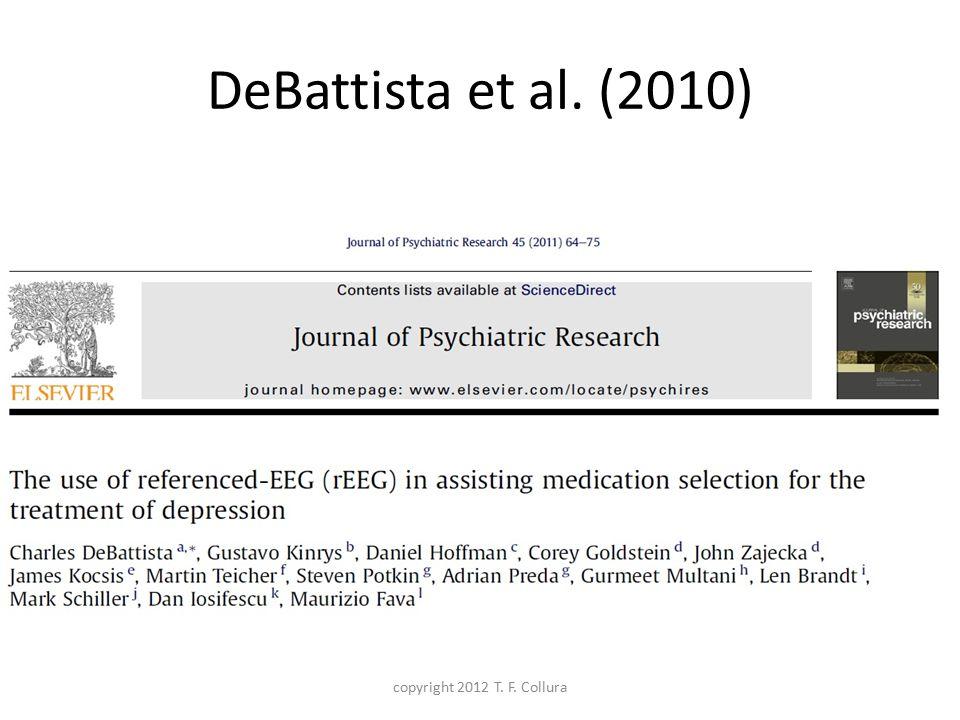 DeBattista et al. (2010) copyright 2012 T. F. Collura