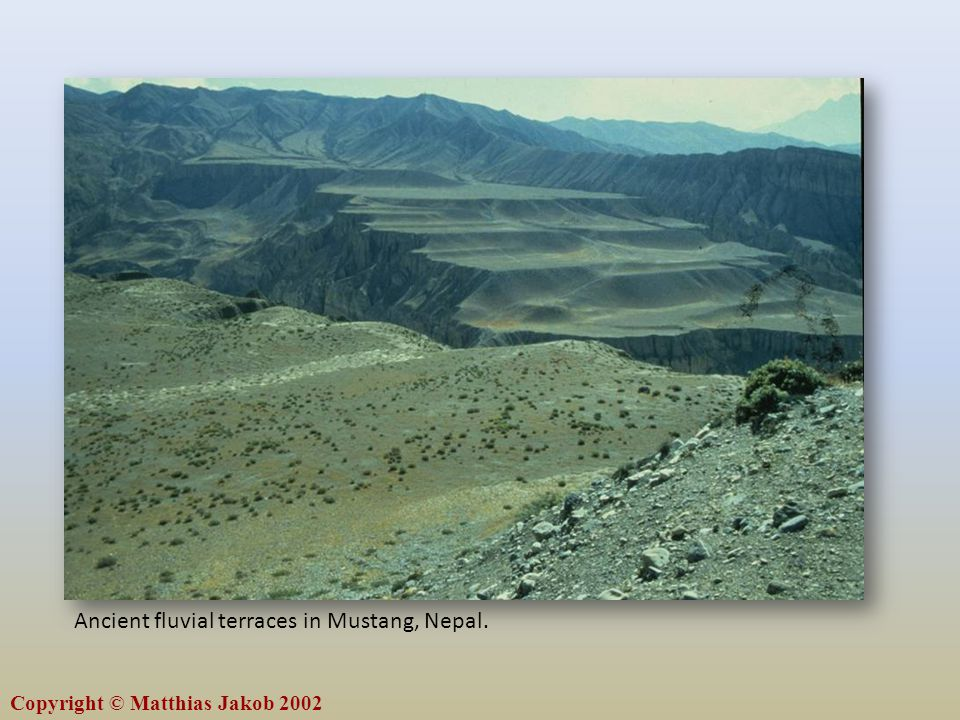 Ancient fluvial terraces in Mustang, Nepal.