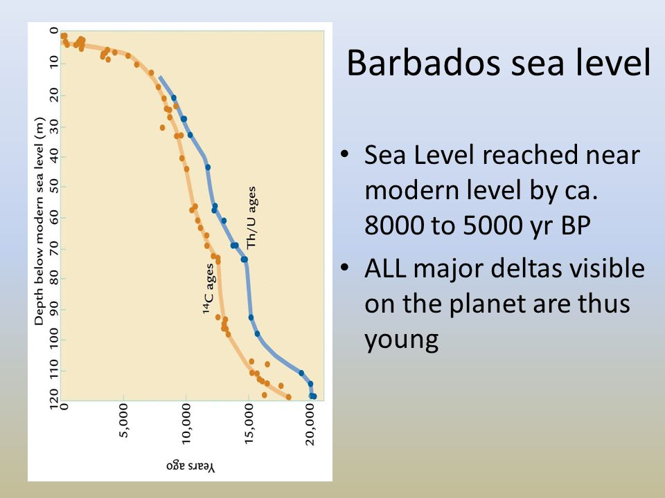 Barbados sea level Sea Level reached near modern level by ca.
