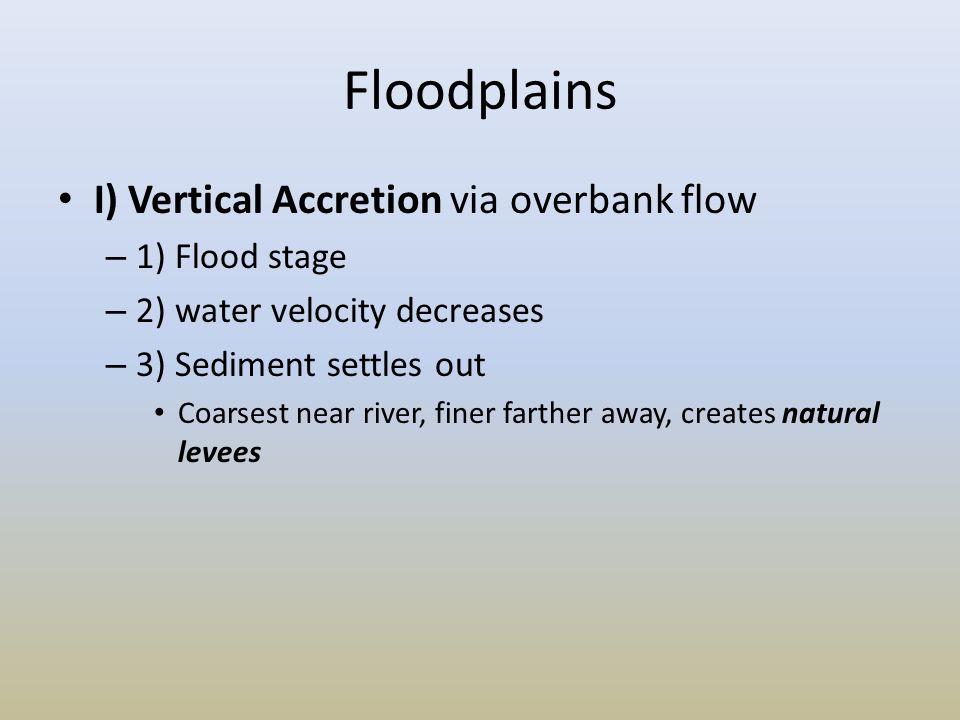 Floodplains I) Vertical Accretion via overbank flow 1) Flood stage