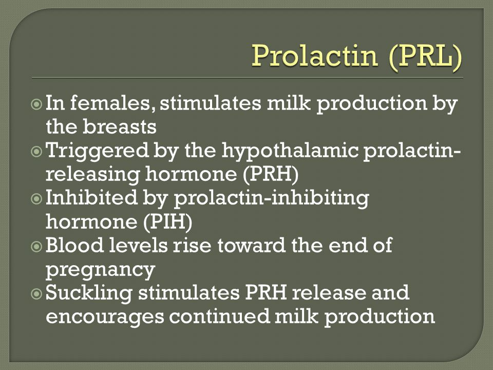 Prolactin (PRL) In females, stimulates milk production by the breasts