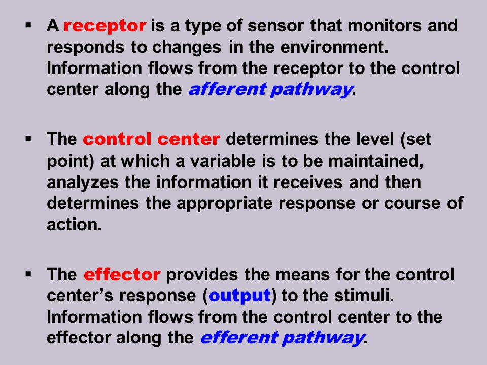 A receptor is a type of sensor that monitors and responds to changes in the environment. Information flows from the receptor to the control center along the afferent pathway.