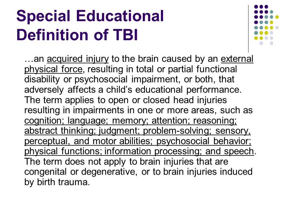 Special Educational Definition of TBI