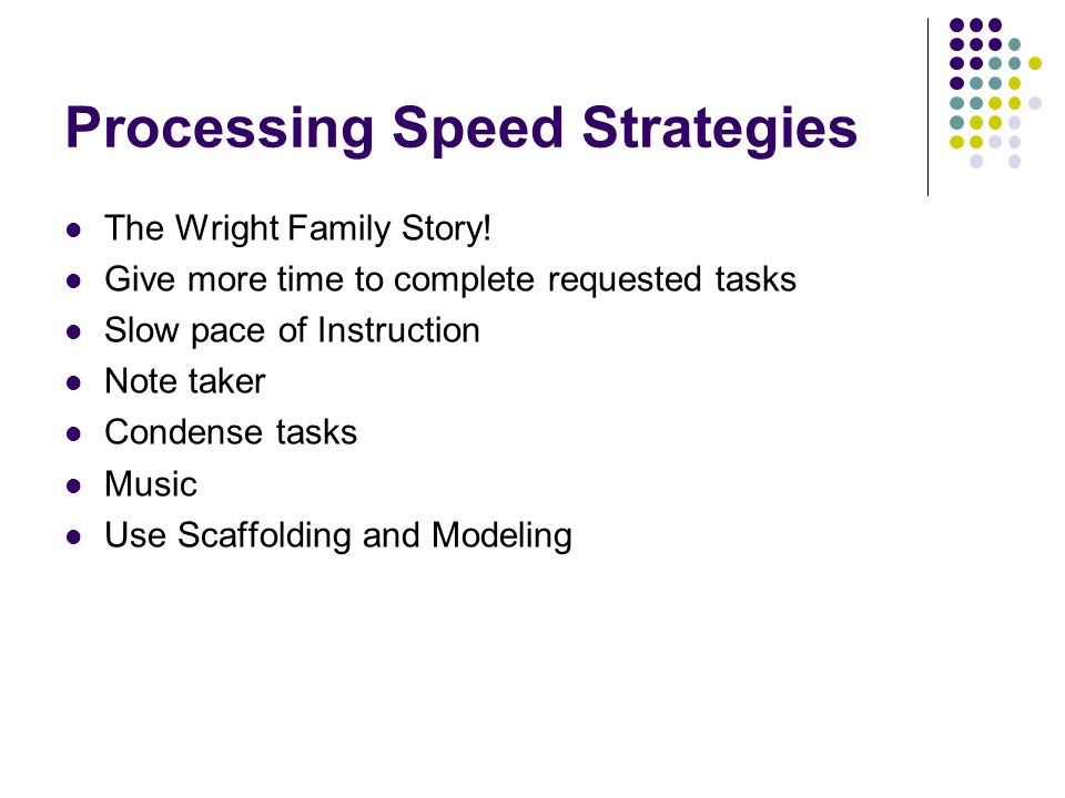 Processing Speed Strategies