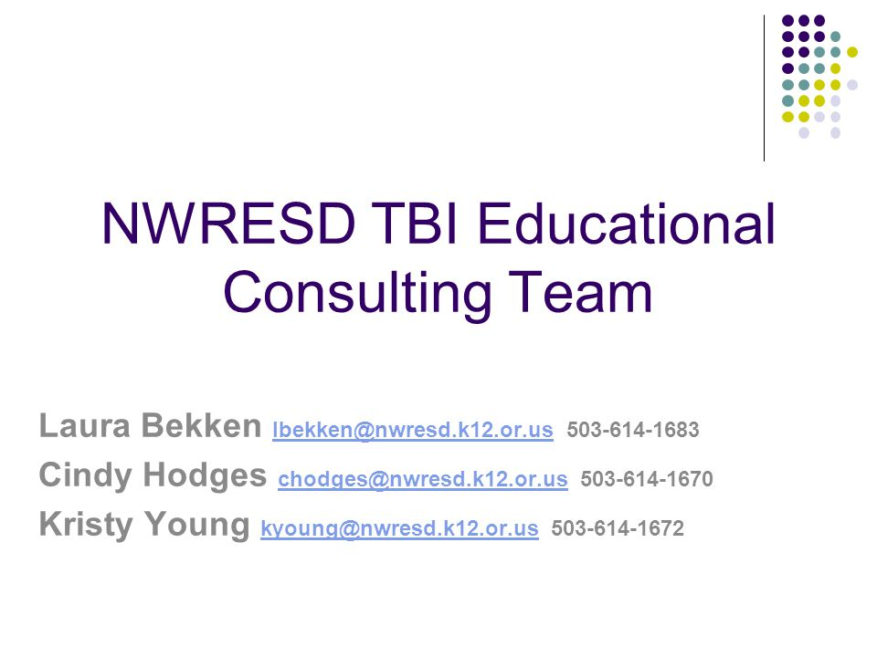 NWRESD TBI Educational Consulting Team