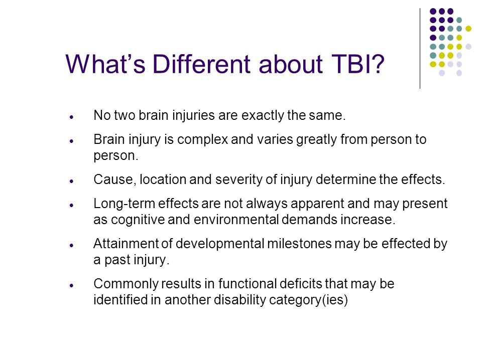 What's Different about TBI