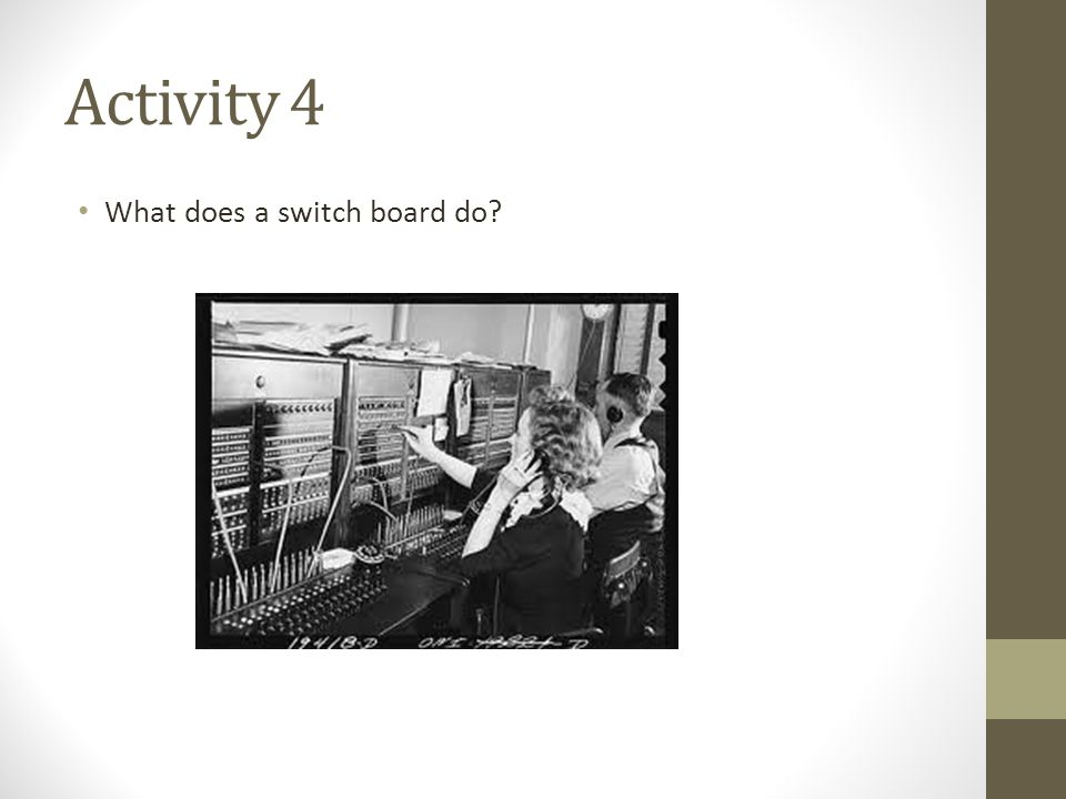 Activity 4 What does a switch board do