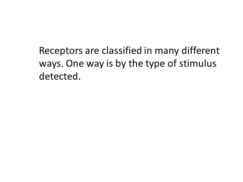 Receptors are classified in many different. ways
