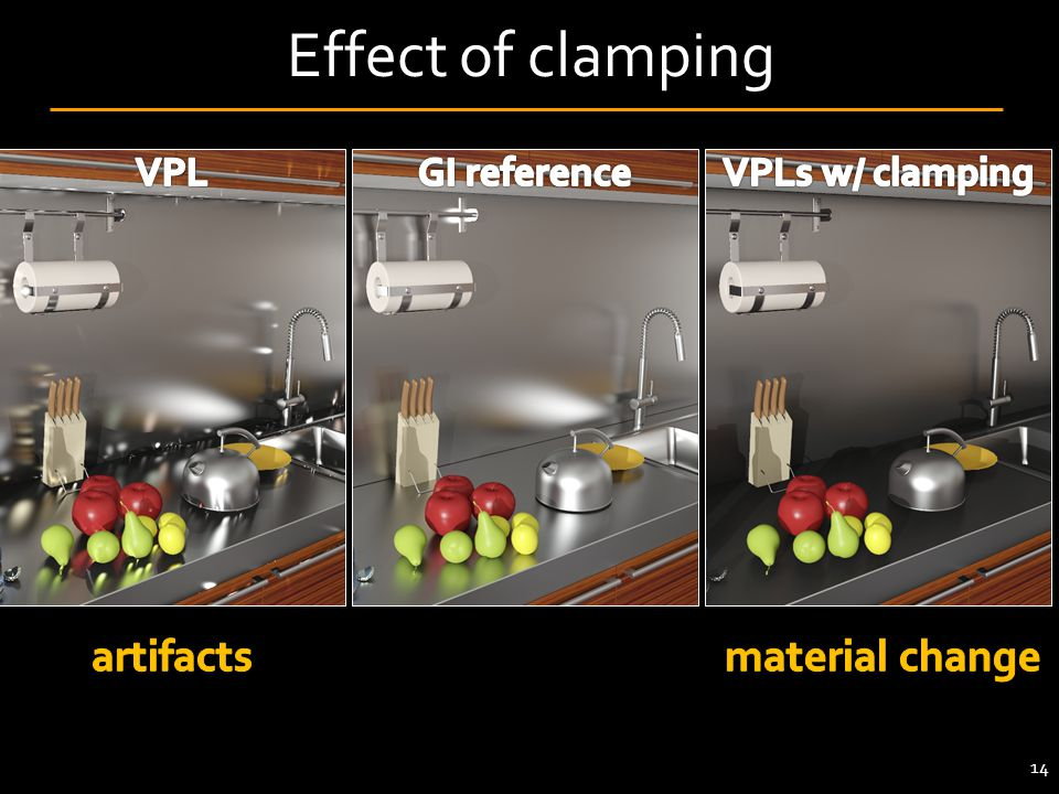 Effect of clamping artifacts material change VPL GI reference