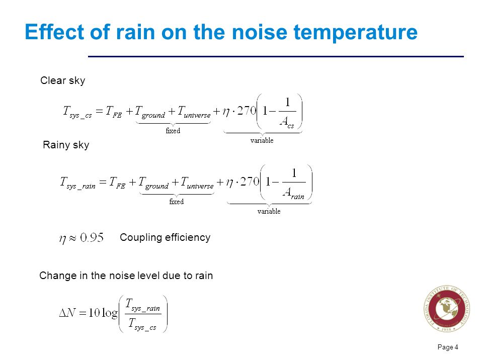 Effect of rain on the noise temperature