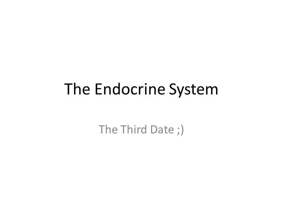 The Endocrine System The Third Date ;)
