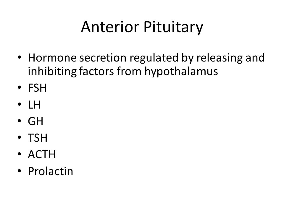 Anterior Pituitary Hormone secretion regulated by releasing and inhibiting factors from hypothalamus.
