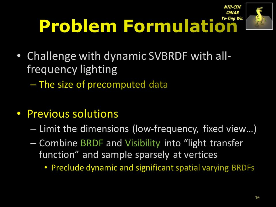 Problem Formulation Challenge with dynamic SVBRDF with all-frequency lighting. The size of precomputed data.