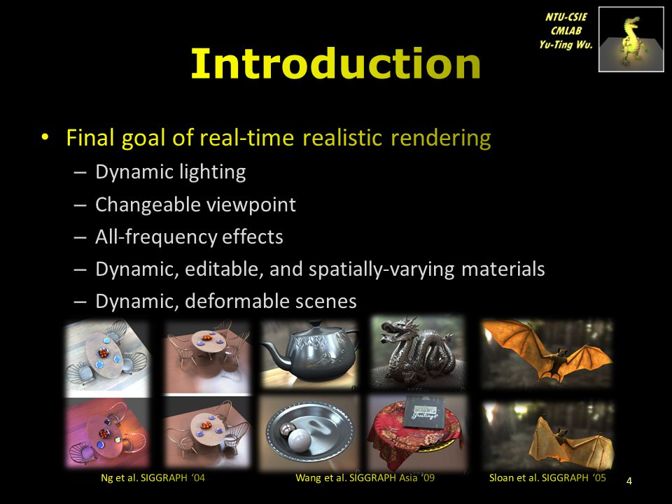Introduction Final goal of real-time realistic rendering