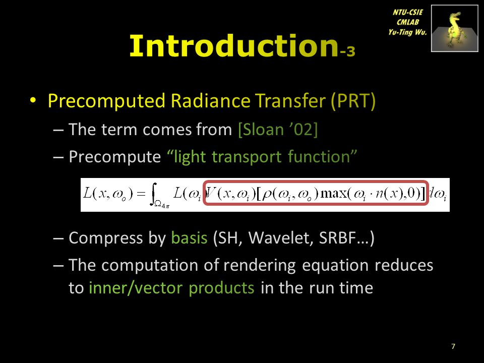 Introduction-3 Precomputed Radiance Transfer (PRT)