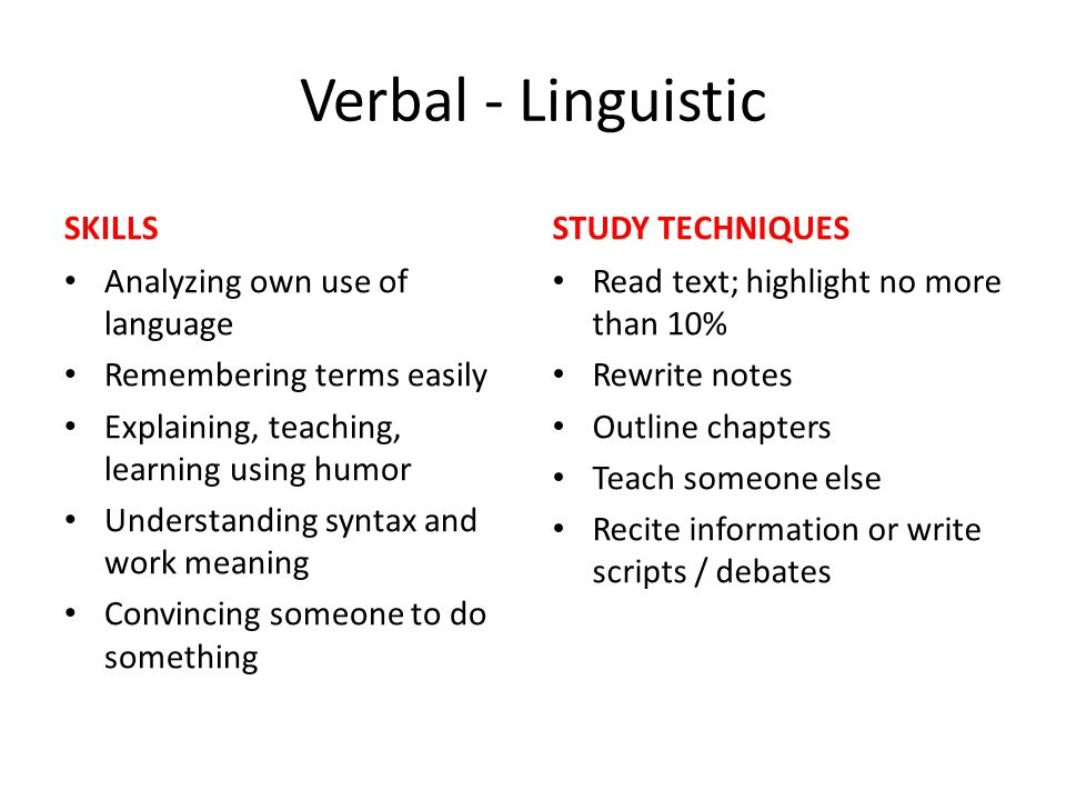 Verbal - Linguistic SKILLS STUDY TECHNIQUES