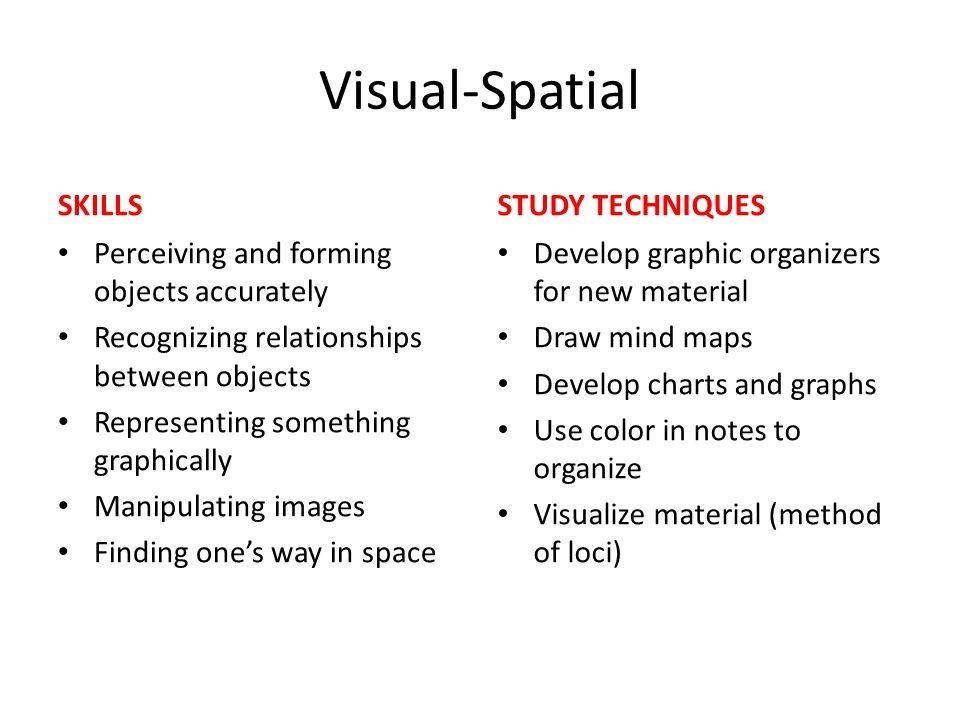 Visual-Spatial SKILLS STUDY TECHNIQUES
