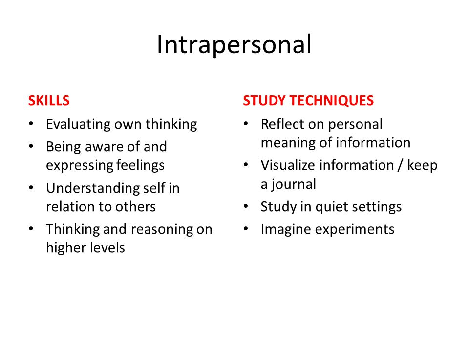 Intrapersonal SKILLS STUDY TECHNIQUES Evaluating own thinking
