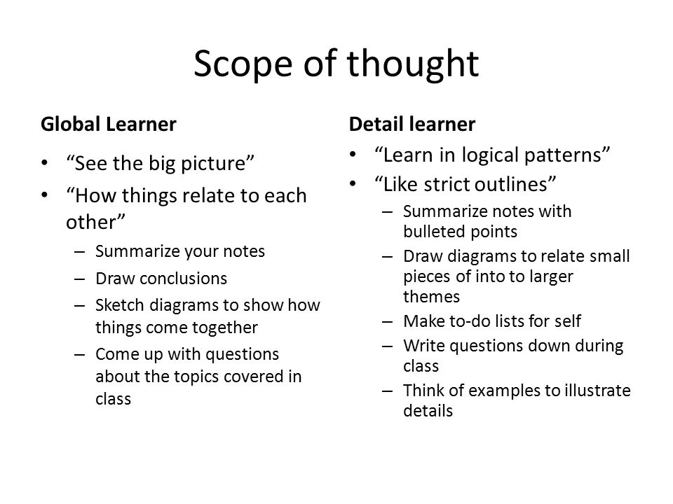 Scope of thought Global Learner Detail learner