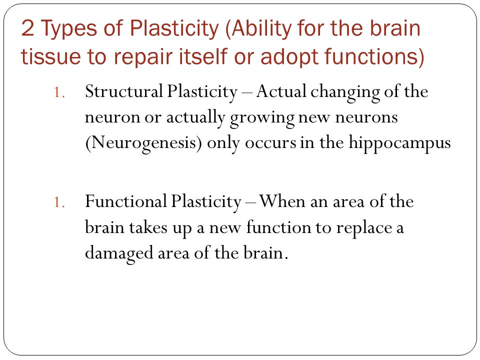 2 Types of Plasticity (Ability for the brain tissue to repair itself or adopt functions)