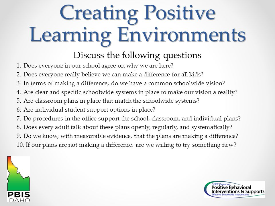 Creating Positive Learning Environments