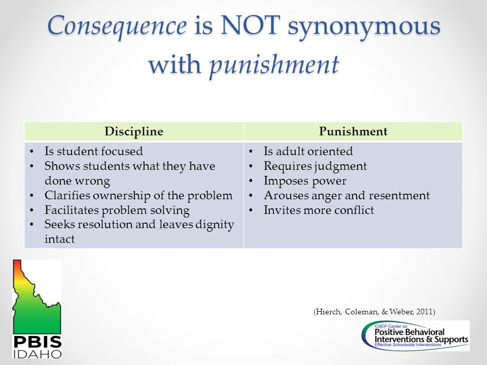 Consequence is NOT synonymous with punishment