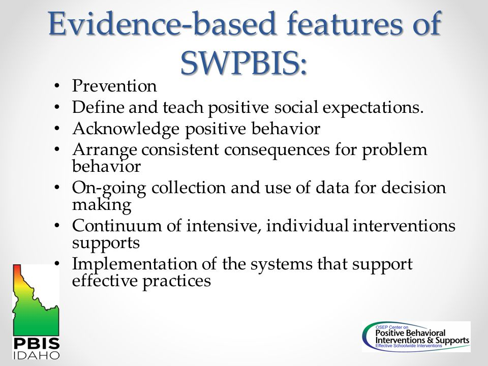 Evidence-based features of SWPBIS: