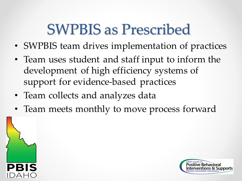 SWPBIS as Prescribed SWPBIS team drives implementation of practices