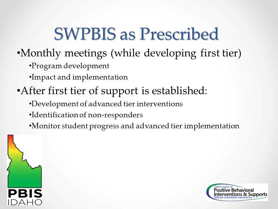 SWPBIS as Prescribed Monthly meetings (while developing first tier)