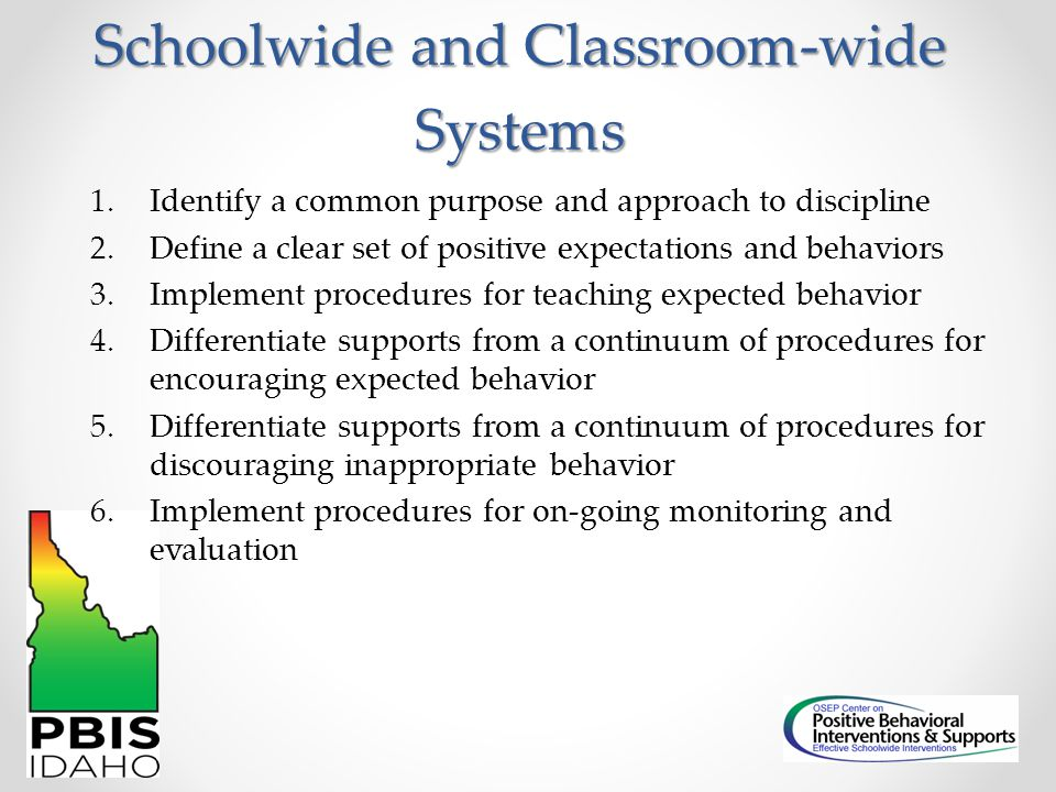 Schoolwide and Classroom-wide Systems