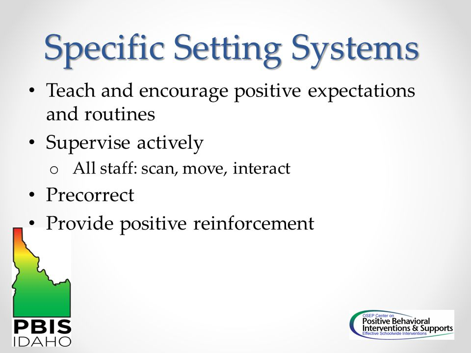 Specific Setting Systems